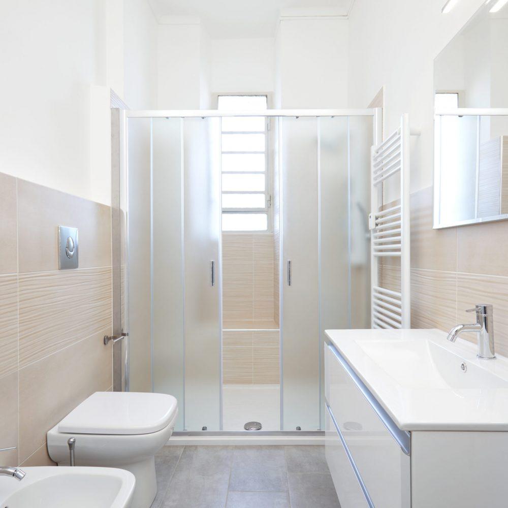 Modern bathroom interior in renovated apartment
